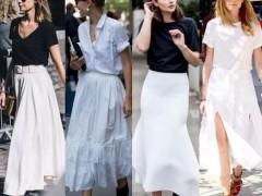 白色半身裙配哪种颜色上衣
