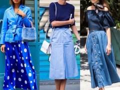 蓝色半身裙如何搭配